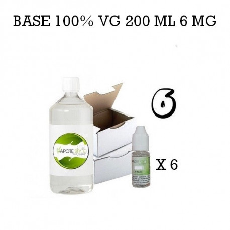 Pack 200 ML 100% VG 6MG - Vapote Style